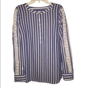 Talbots Blue/White Stripe Top with Lace Detail